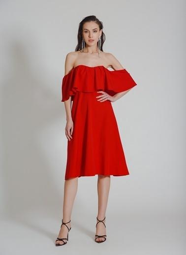 People By Fabrika Straplez Elbise Kırmızı